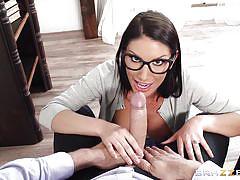 Sexy babe sucks on her teacher's big rod