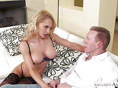 Blonde milf in lingerie pays debts with her skills