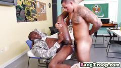 Black soldier gets ass filled with white cock
