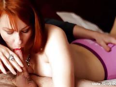 Hot deep throat redhead