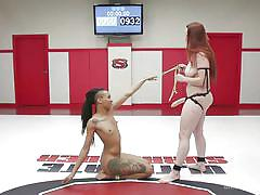 Naked wrestlers in heavy strapon action