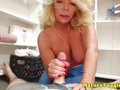 Lingerie bigboobs milf wanking off cock pov