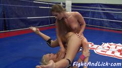 Dominant lesbo fingers babe after wrestling