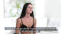 Female agent licks lesbian slim babe