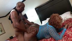 Big black babe sucks cock before getting fucked