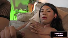 Amateur asian femboy sensually wanking solo