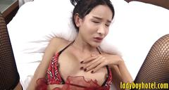 Sexy ladyboy enjoyed anal fucking bareback on the bed