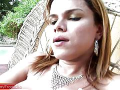 shemale, big ass, big dick, ass fingering, jerk off, solo, latina, thong, blonde, piercing, striptease, cumshots, outdoors, bigtits, shemale tugjobs, shemax network, hilda brasil