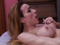 Sexy shemale gets a huge cock in her ass