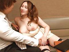 Busty asian milf in fishnets seduces coworker in karaoke bar