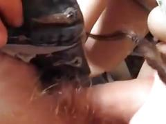 Hairy cunt under sexy panties gets a creampie