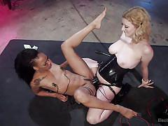 Black shibari sub fucked with electric strapon