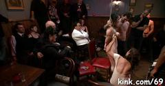 Tied up porn sluts are ready for a nasty group party