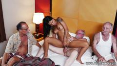 Gorgeous latina cutie gets used by some dirty old porn guys
