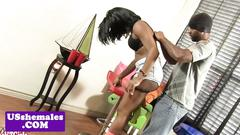 Black booty tgirl gets pounded with dick