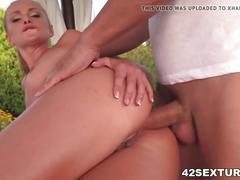 Blonde euro girl enjoys anal outdoors