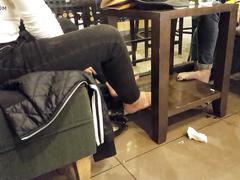 Gf and fr's barefoot flashing, perfect soles in public cafe