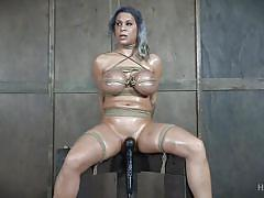 milf, bdsm, big tits, vibrator, oiled body, suffocation, mouth gag, plastic bag, rope bondage, hard tied, alyssa lynn