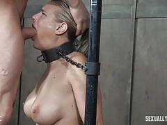 milf, blonde, threesome, deepthroat, slave, busty, tied up, collar, chained, device bondage, sexually broken, angel allwood, sergeant miles, dee williams