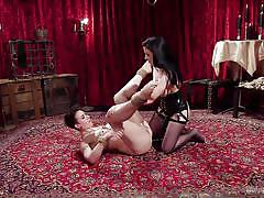 Strap-on anal fuck in rough lesbian bdsm encounter