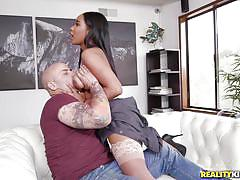 Busty ebony maid seduces customer
