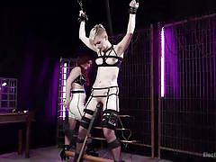 Bound blonde sub tased to orgasm