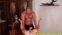Oiled twink jerksoff milky jizz after massage