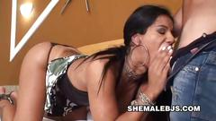 Very attractive shemale in high heels love to suck big fat cock