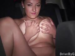 Huge tits star krystal swift undressing in the car before public orgy gang bang