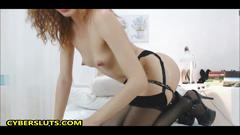 Ginger babe squirts hard