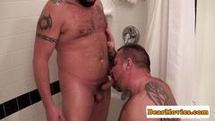 Tattooed bear assfucked in the bathroom