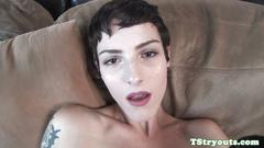 Stunning trans wanks cock on casting couch