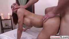 Ladyboy with massive tits receives massage and gets fucked