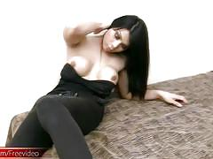 Black hair ladyboy beauty with round breasts jerks and cums