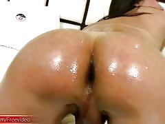 T-girl ladystick and sexy ass get shiny from oil and cumshot