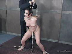 Asian sex slave is bound the way the master likes
