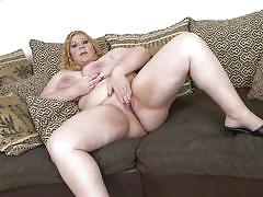 Blonde bbw angellyne fucks her plump pussy with a dildo