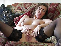 Shaven milf touches her cunt for you