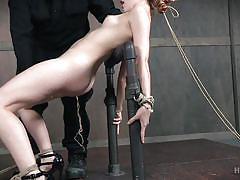 heels, bdsm, babe, redhead, domination, vibrator, hairy pussy, device bondage, rope bondage, hard tied, amarna miller