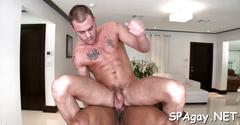 Lucky white stud gets a black dick in his asshole