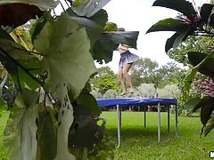 Outdoor bouncing ivy rose smashed in her tight pussyhole