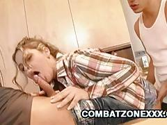 Super horny blondie fucked by father and son duo