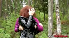 Redhead nadya wants to fuck in the woods