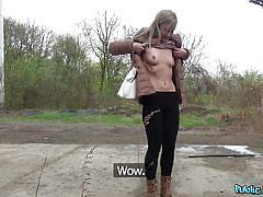 blonde, babe, outdoor, amateur, blowjob, for money, pick up, on knees, boobs flash, public agent, fake hub, martin gun, sicilia crane