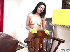 Naughty maid cleans up his cock