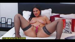 Hot busty brunette slut teasing in sexy lingerie and masturbates on a webcam