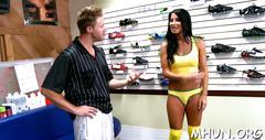 Brunette mature hottie in yellow lingerie rides a massive shaft