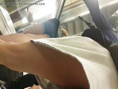 Escalator upskirt blonde mom