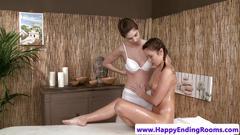 Lesbian masseuse fingering beautiful dyke gal