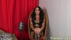 Latina trans beauty showing off her new boobs